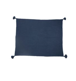 Bloomingville Dusty Blue Woven Cotton Blend Throw with Tassels
