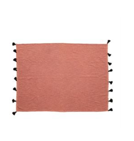 Bloomingville Dusty Rose Heavy Cotton Throw with Tassels