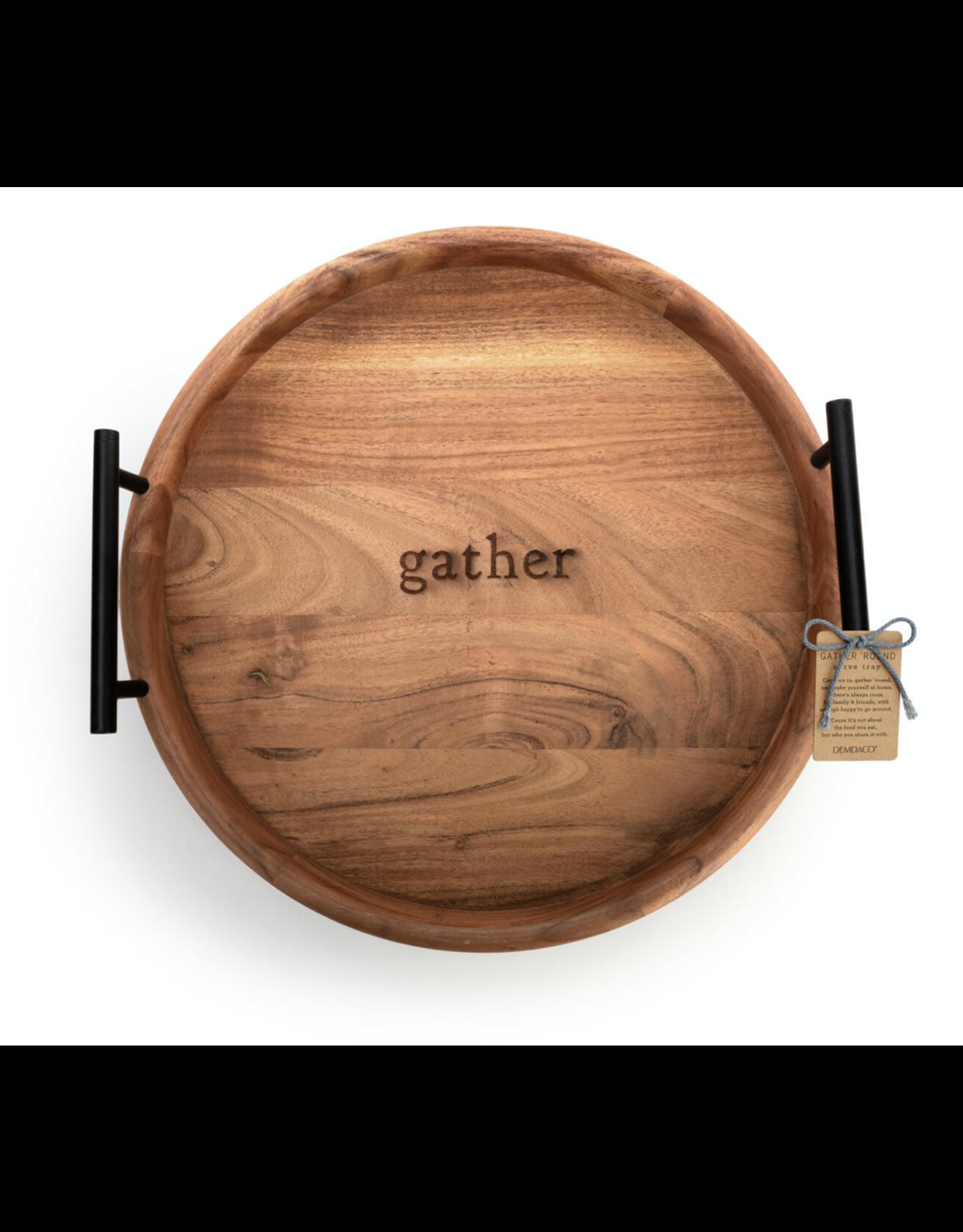 "Demdaco ""Gather"" Wood Serving Tray"