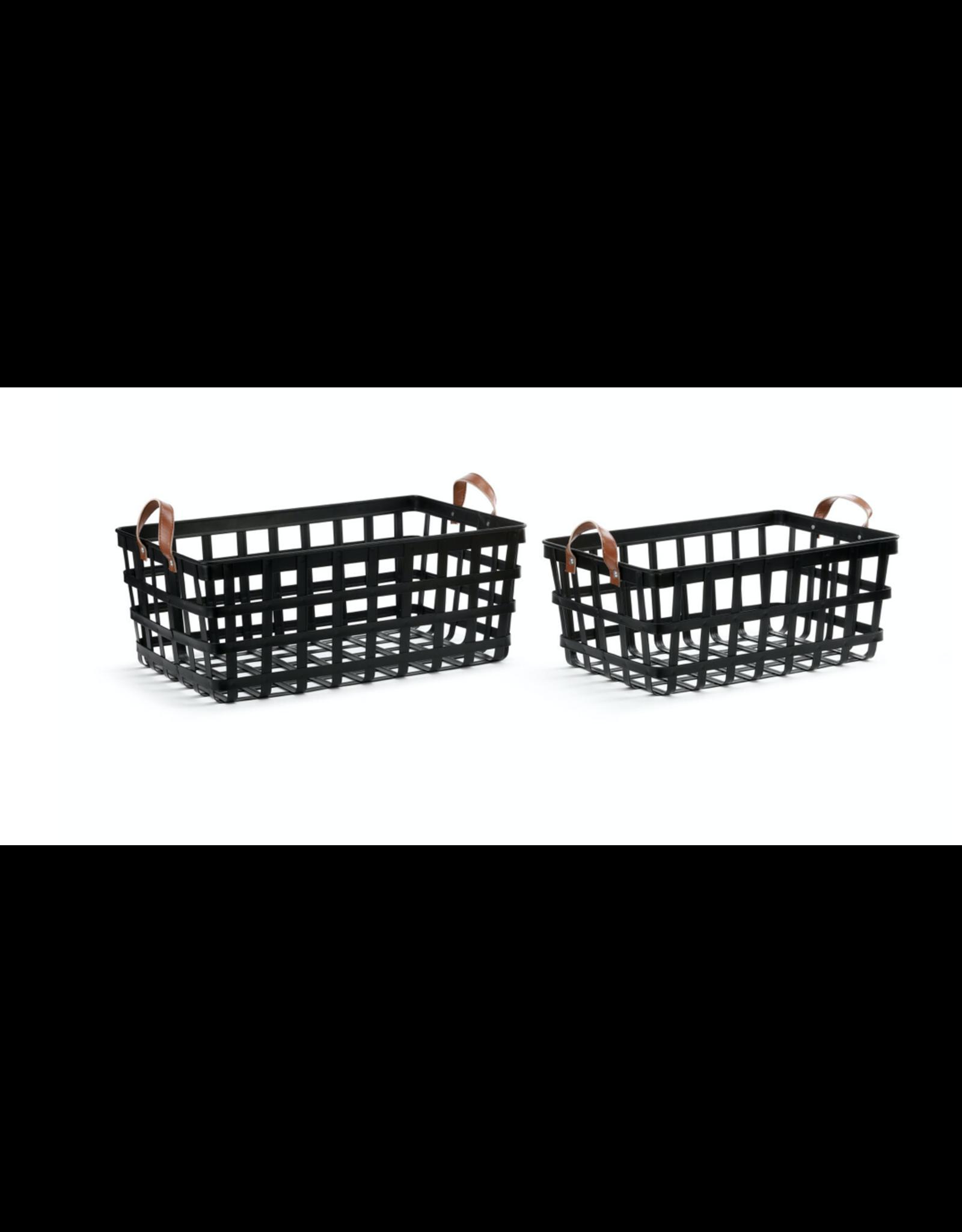 Demdaco Leather Handle Nesting Basket Large