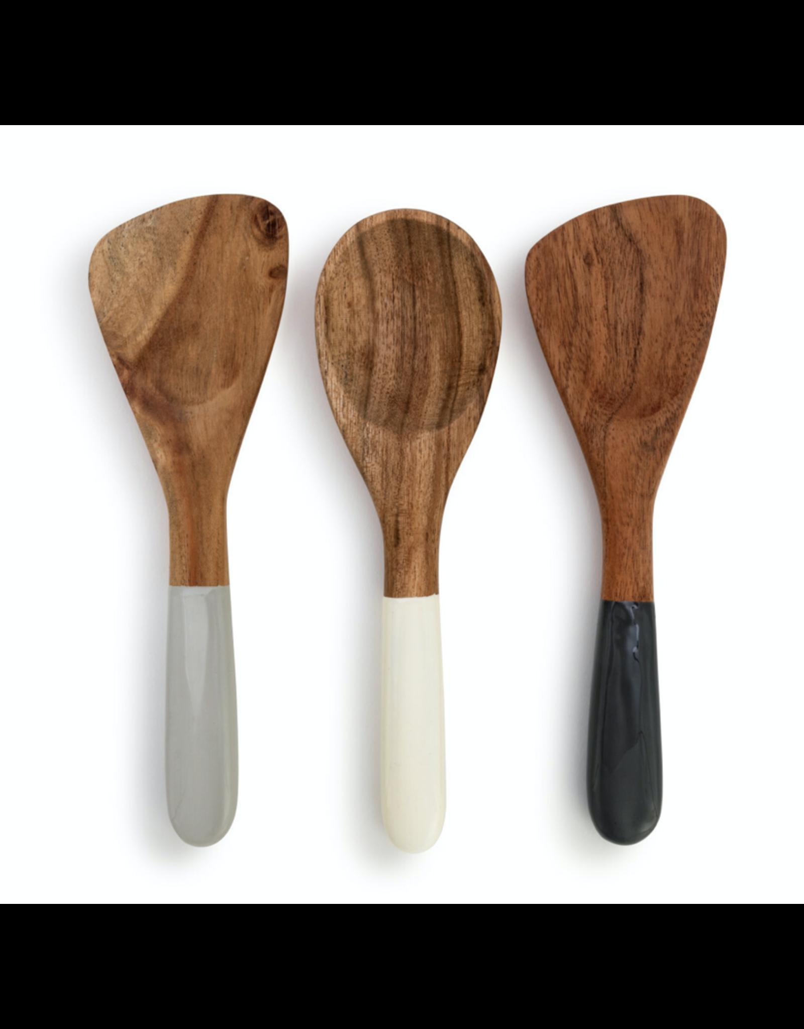 Demdaco Acacia & Resin Appetizer Spoons, set of 3