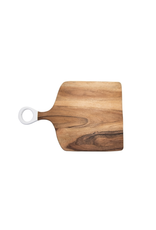 "BIDK Acacia Wood Rectangle Cutting Board with White Handle 17.75"" x 11.8"""
