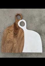 BIDK Set of White Marble & Acacia Wood Mr & Mrs. Cutting Boards