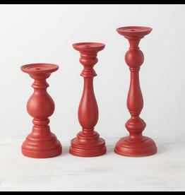 Sullivans Red Pillar Candle Holder, set of 3