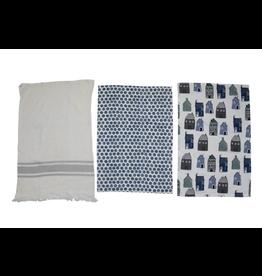 Creative Co-Op Blue & White Cotton Tea Towels, set of 3