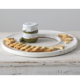 """Creative Co-Op 13"""" Round Marble Circle Cracker Cheese Tray"""