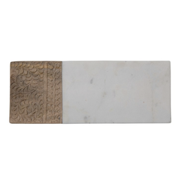 Creative Co-Op Hand Carved Mango Wood & Marble Serving Board