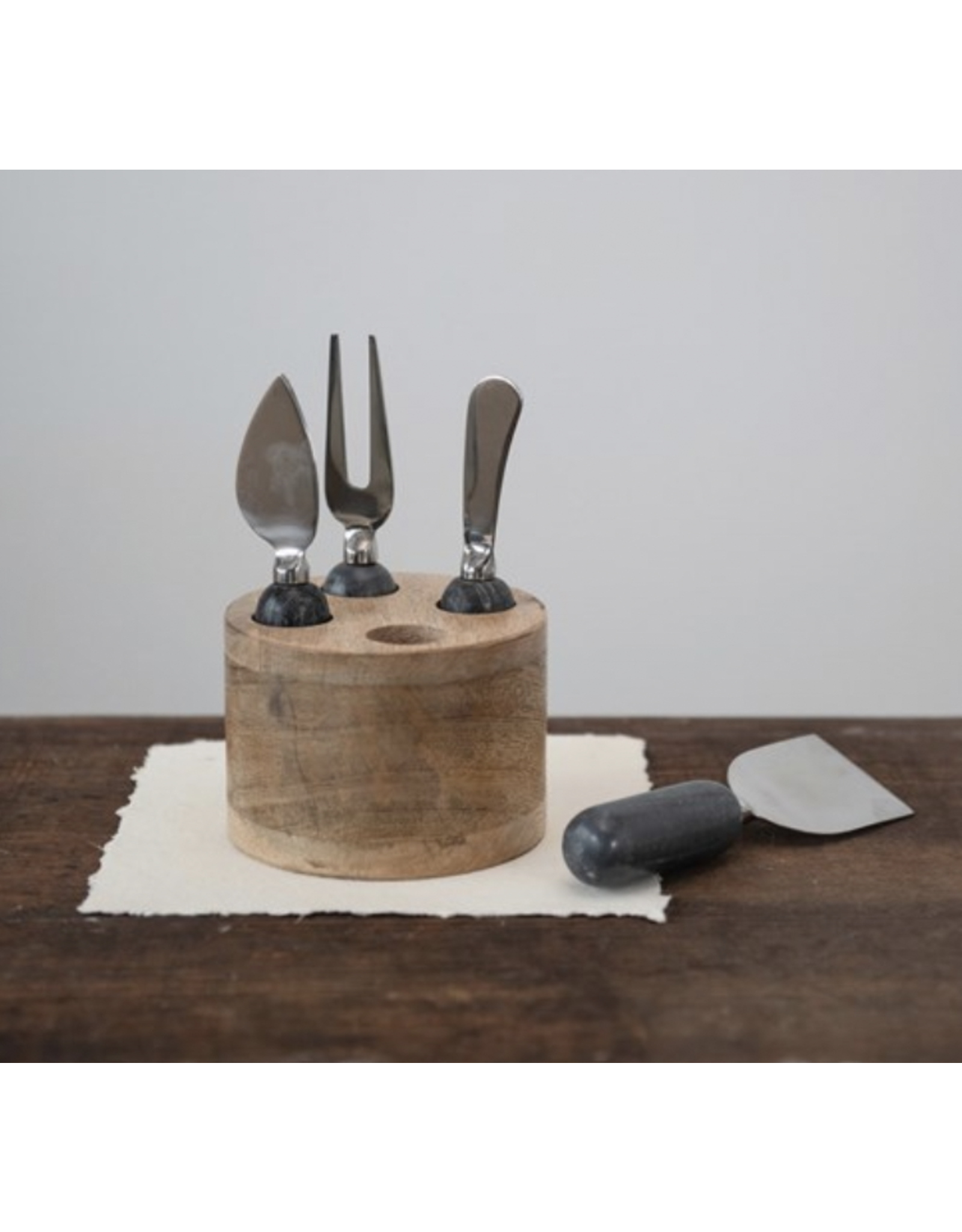 Creative Co-Op Stainless Steel Cheese Servers with Marble Handles