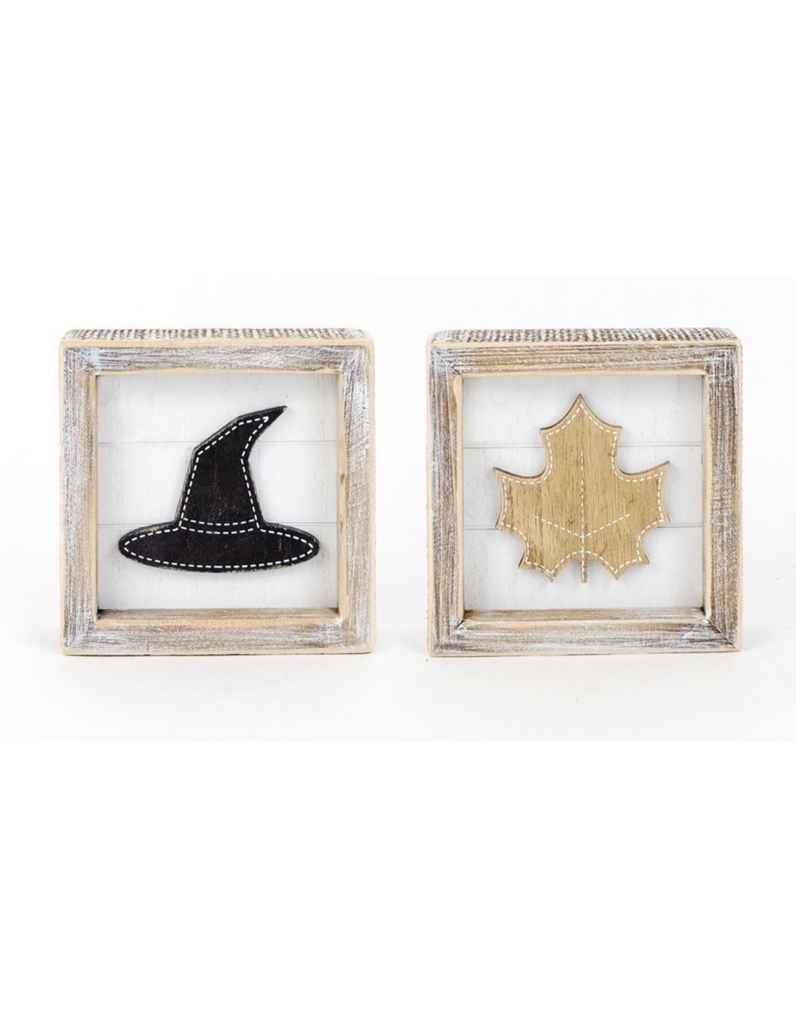 Adams & Co. Witch Hat/Autumn Leaf Reversible Sign 5 x 5