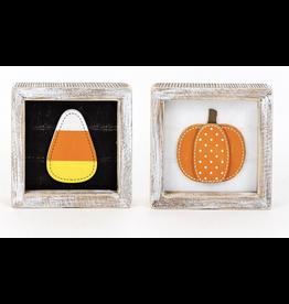Adams & Co. Candy Corn/Pumpkin Reversible Sign 5 x 5