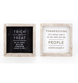 Adams & Co. Trick or Treat/Thanksgiving Reversible Sign 7 x 7