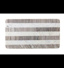 Bloomingville Marble Tray Cutting Board, Buff & White Stripe