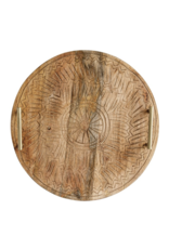 Creative Co-Op Round Hand Carved Mango Tray