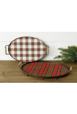 Audrey's Holiday Tartan Plaid Tray, Red/Green