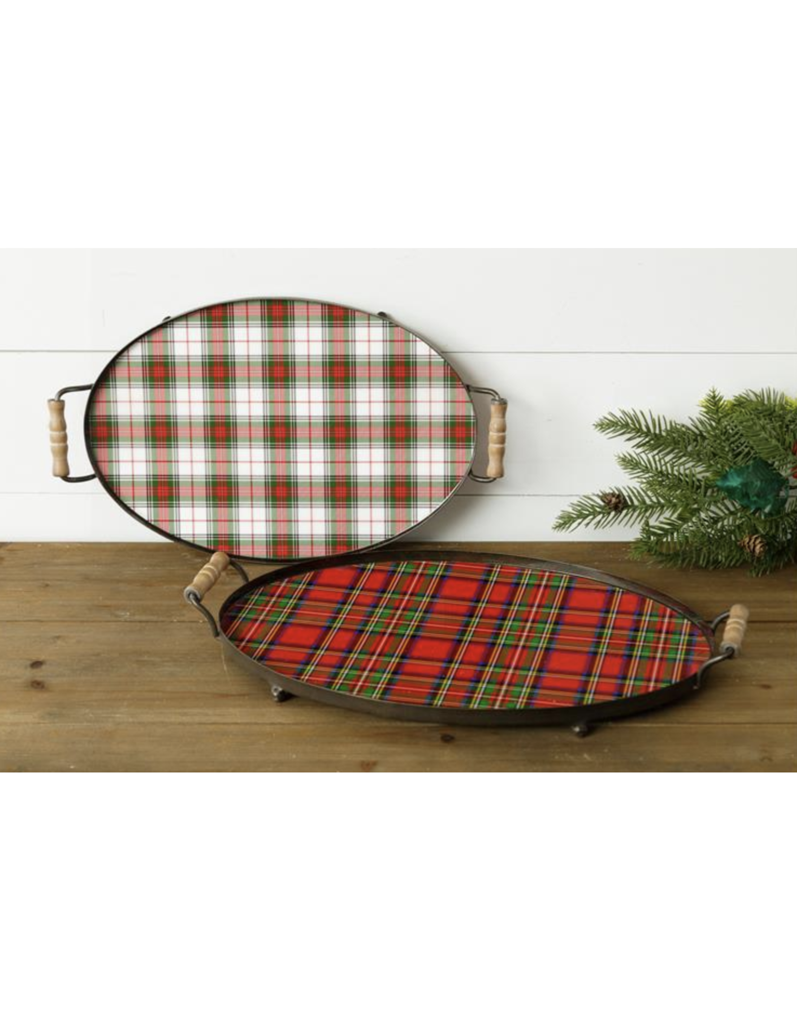 Audrey's Holiday Tartan Plaid Tray, White/Red/Green