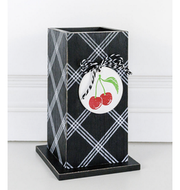 Adams & Co. Black and White Vase with Cherry Embellishment