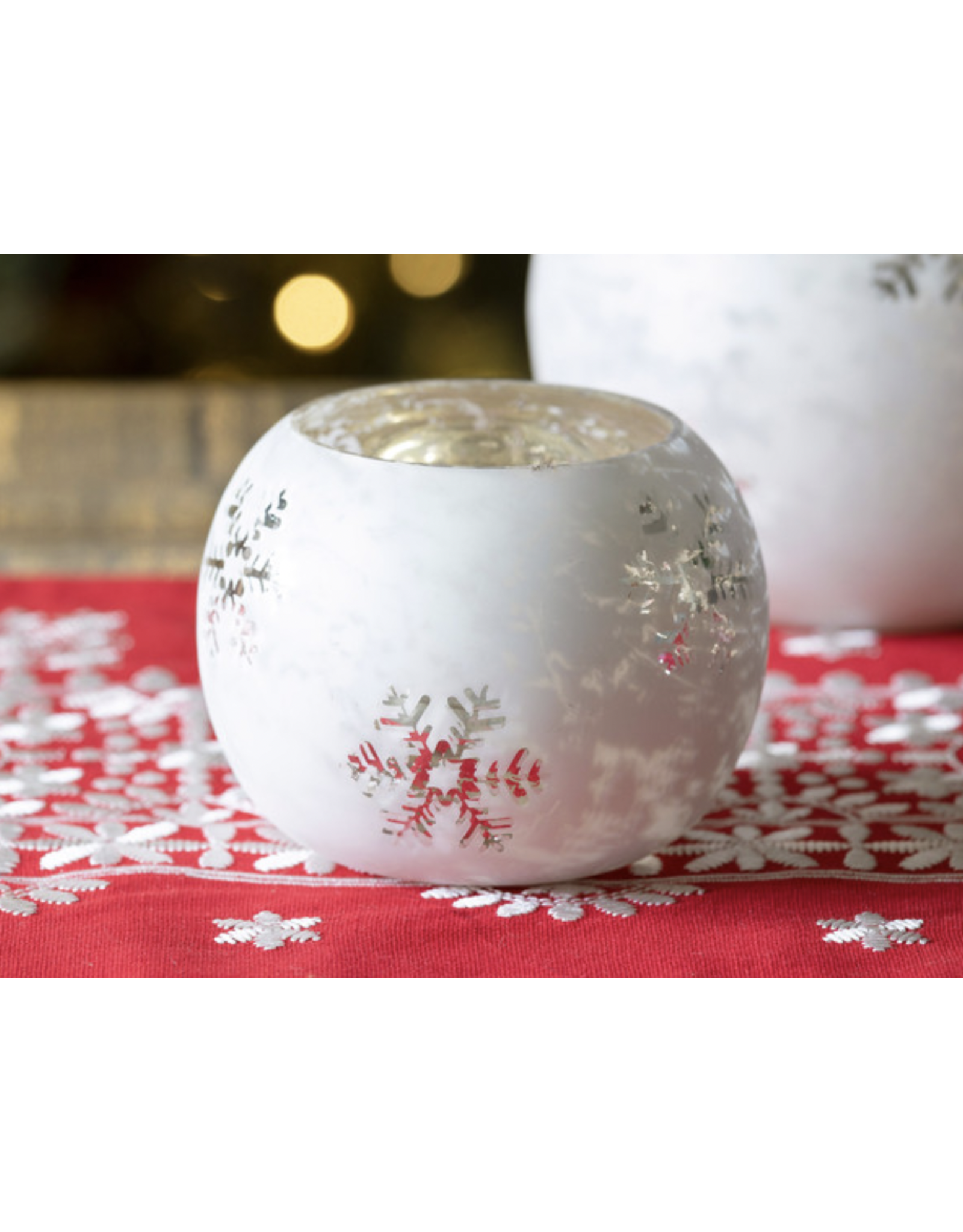 Park Hill Glass Snowflake Pattern Votive Holder