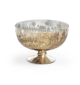 Park Hill Chateau Etched Mercury Glass Footed Bowl