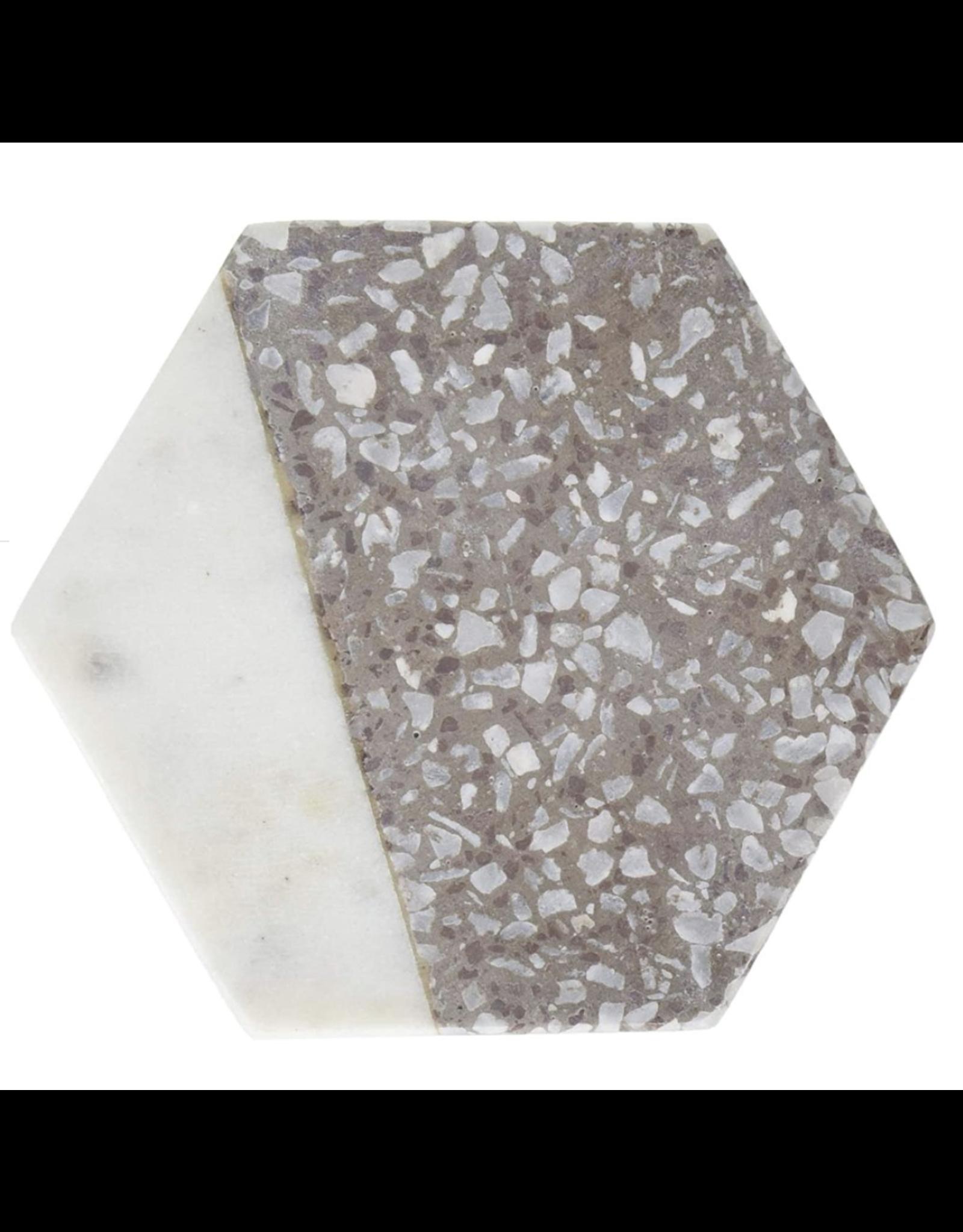 Thirstystone Hexagon White Marble & Gray Terrazzo Coasters, set of 4