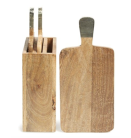 Thirstystone Mango Wood Chopping Boards with Copper Handles, set of 3