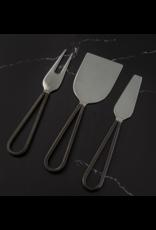 Thirstystone Black Hammered Metal Loop Handle Cheese Utensils, set of 3