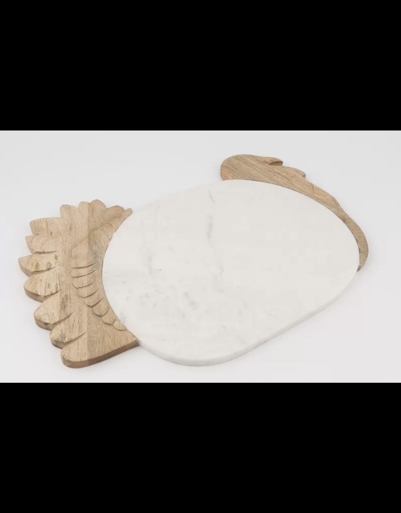 Thirstystone White Marble & Mango Wood Turkey Shape Serving Board