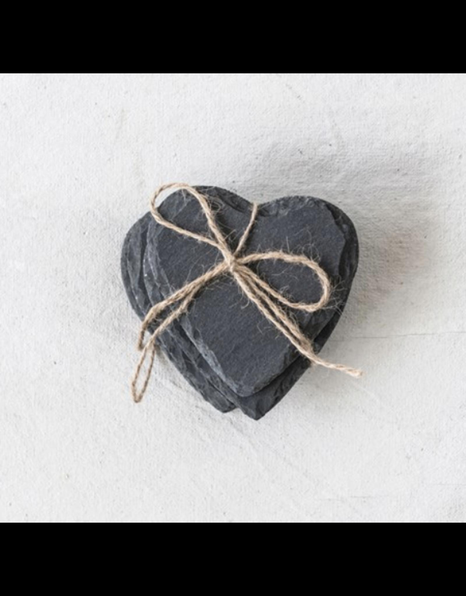 Creative Co-Op Slate Heart Coasters, set of 4 (includes engraving)