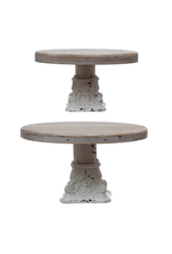 Creative Co-Op Distressed White & Natural Metal Pedestals, Large