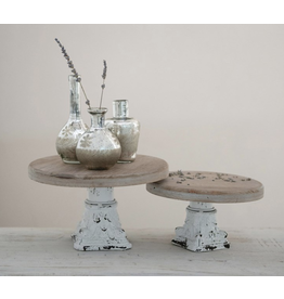 Creative Co-Op Distressed White & Natural Metal Pedestal, Small