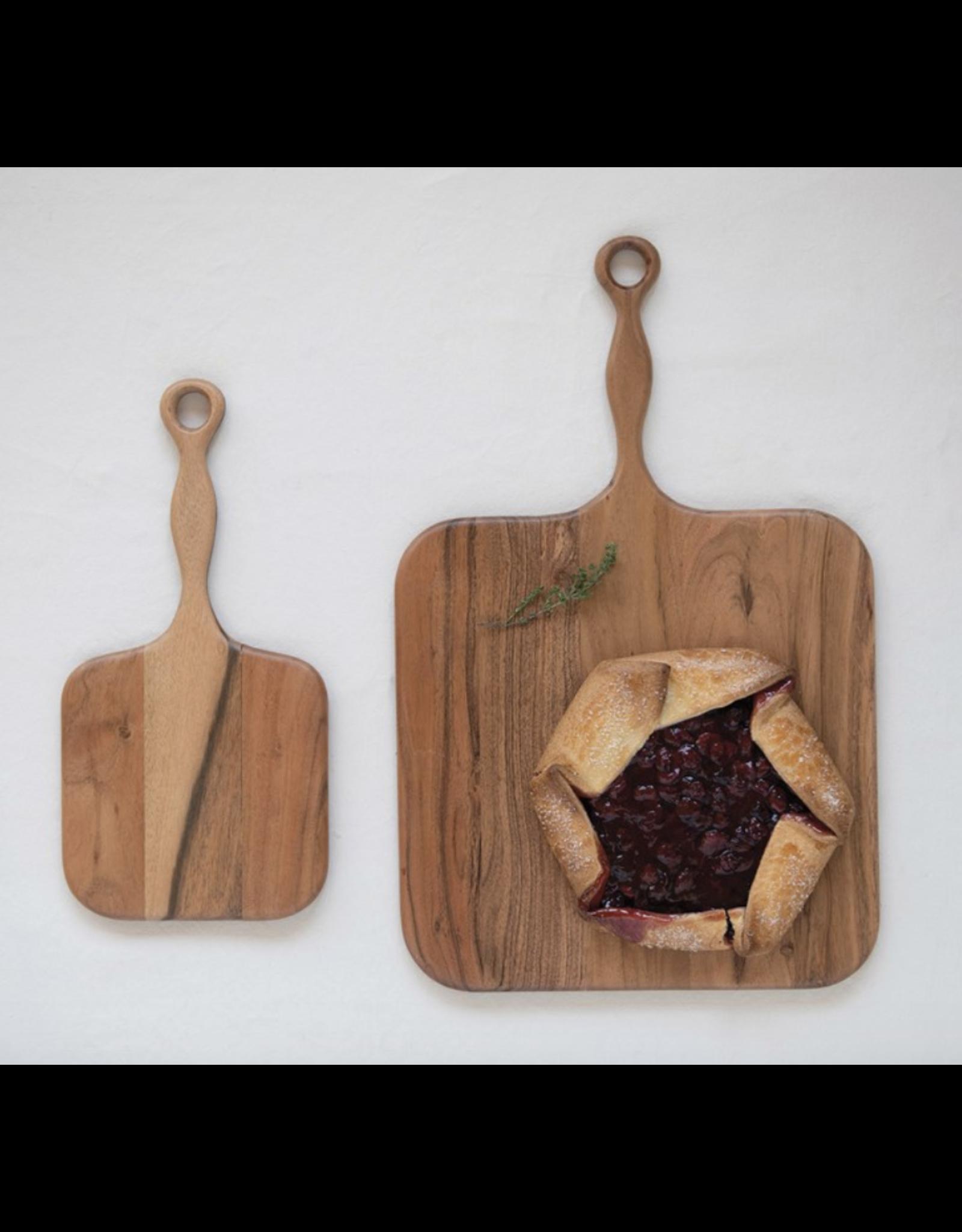 "Creative Co-Op Acacia Wood Cheese & Cutting Board with Handle 16"""
