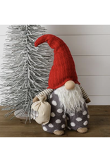 Audrey's Standing Gnome with Bag - Gray Dot Pants, Red Hat