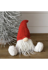 Audrey's Sitting Gnome-Gray Stripe, Red Hat