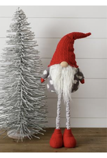 Audrey's Standing Gnome-Gray Dot Shirt, Stripe Legs, Red Hat