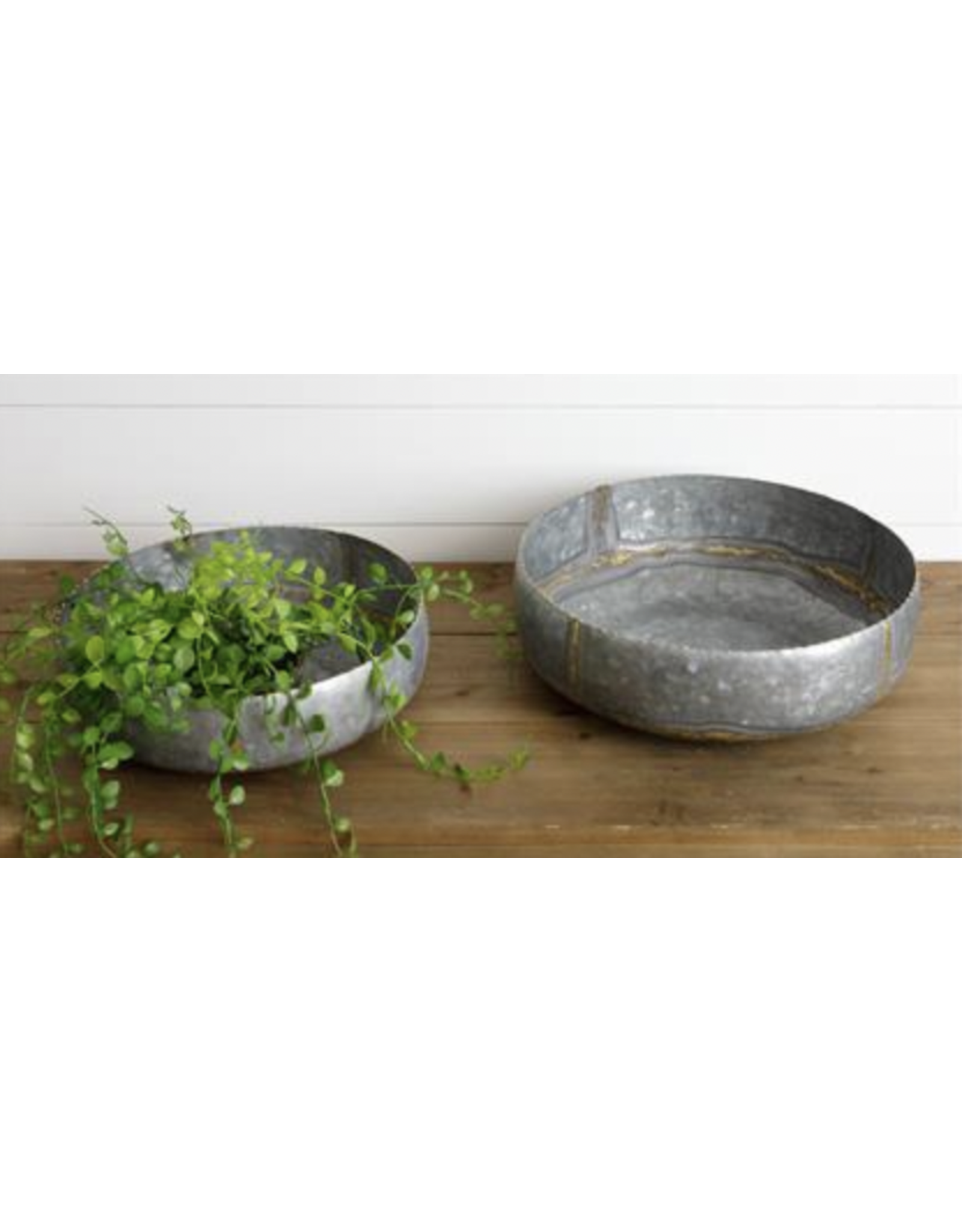 Audrey's Galvanized Bowl with Gold, Large