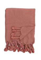 """Bloomingville 60""""x50"""" Russet Cotton Throw with Pom Poms"""