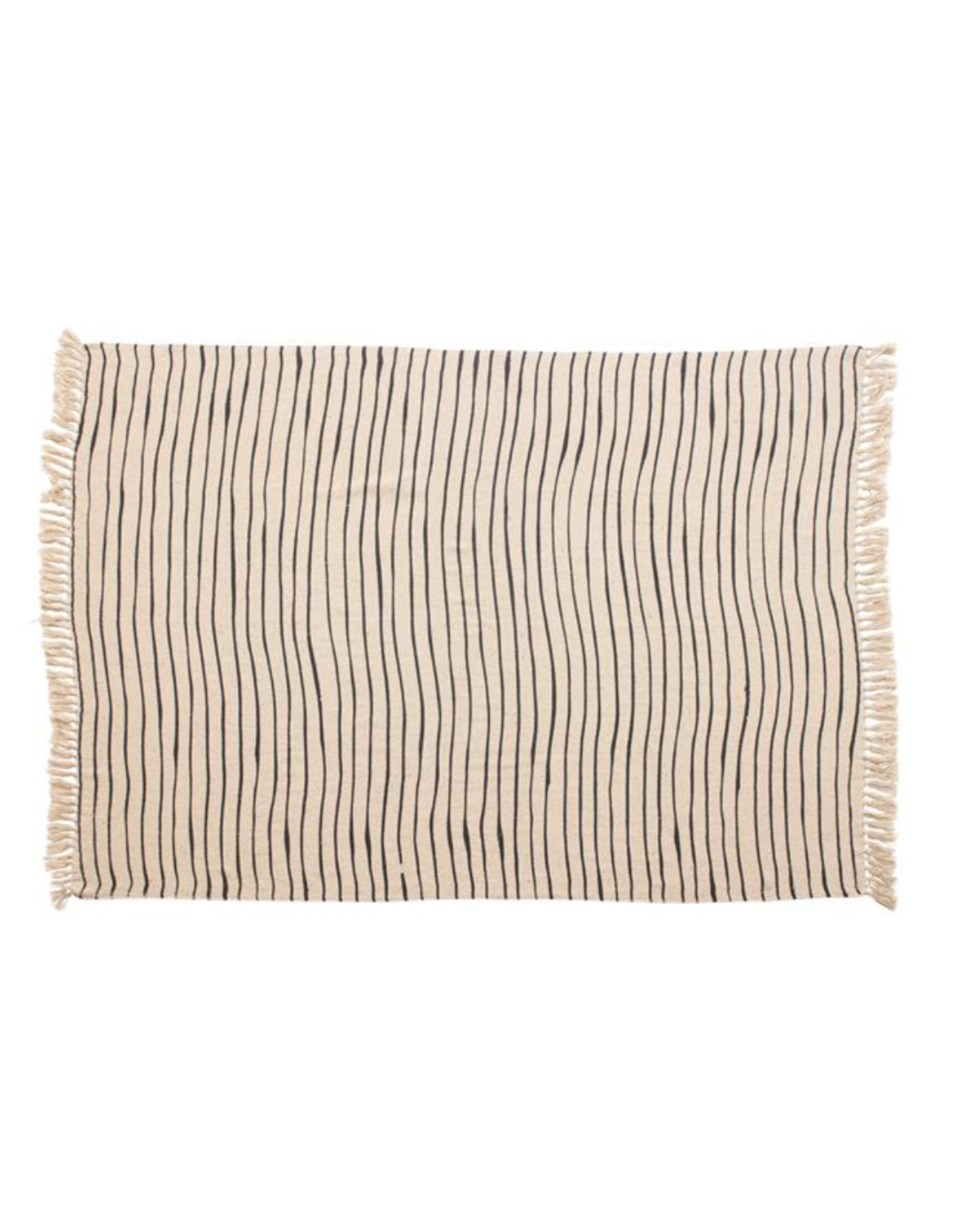 """Bloomingville 60""""x 50""""  Woven Recycled Cotton Blend Throw with Stripes & Tassels"""