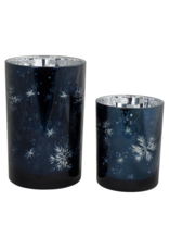 Melrose Blue Mercury Glass with Snowflake Large