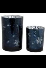 Melrose Blue Mercury Glass with Snowflakes Medium