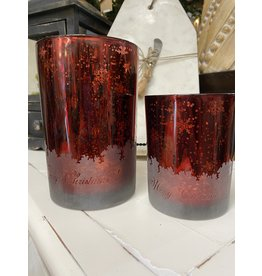 Melrose Red Mercury Glass with Snowflakes Large