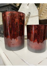 Melrose Red Mercury Glass with Snowflakes Medium