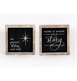 """Adams & Co. Greatest Story/Story Begins Reversible Sign 7"""" x 7"""""""