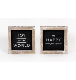 """Adams & Co. Joy To The World/My Happy Place Reversible Sign 5"""" x 5"""""""