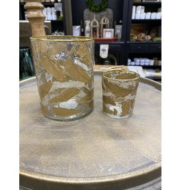 Creative Co-Op Gold Leaf Inlay Candle Holder