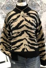 Miss Me Zebra Knit Sweater