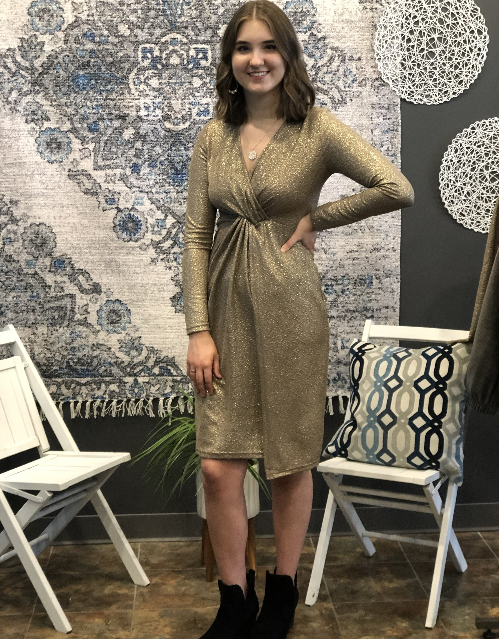 Textured Knot Front Dress