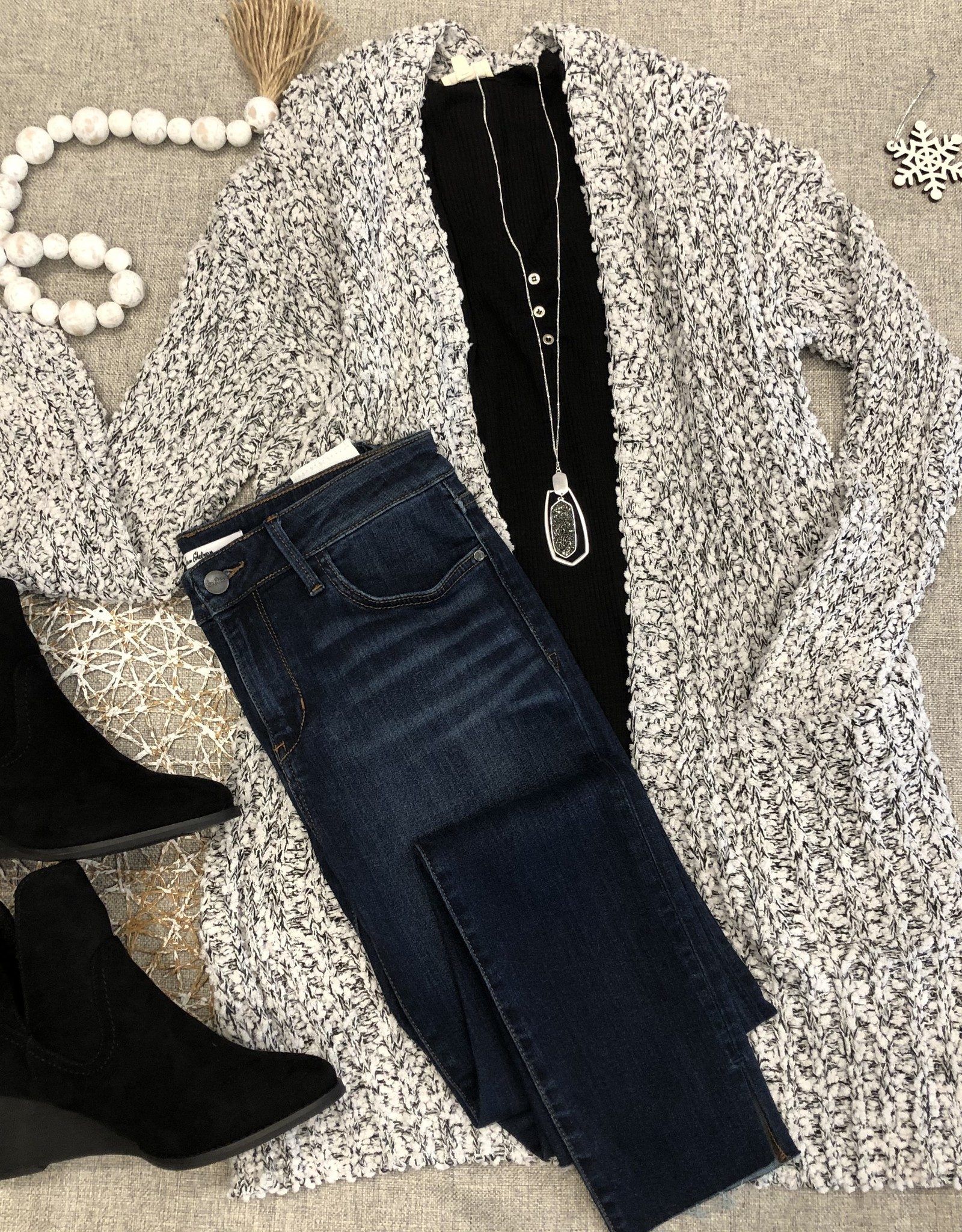 White & Black Cable Cardigan