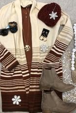 Oatmeal & Rust Stripe Cardigan