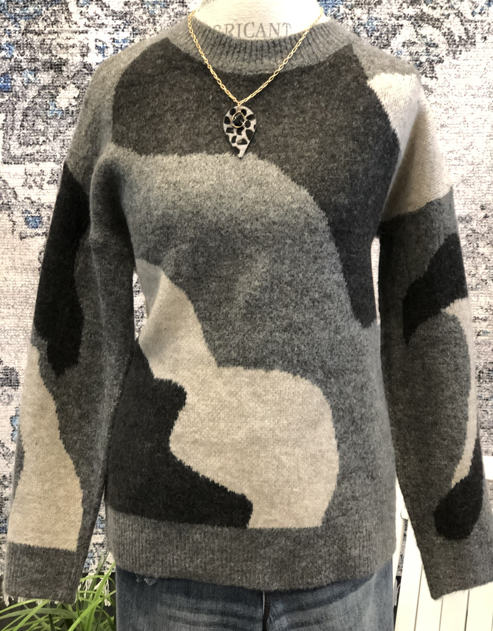 Mixed Grey Camo Sweater