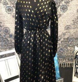 Black & Metallic Wrap Dress