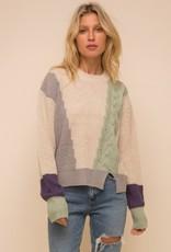 Mint Color-block Cable Knit